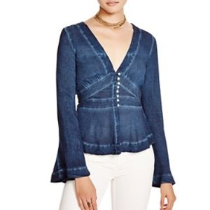 NWT Free People Bell Sleeve Top Size Small Indigo